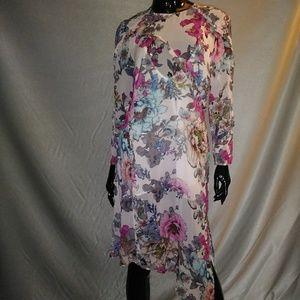 Sheer Pink floral Asymmetrical TOPSHOP Dress Sz 6